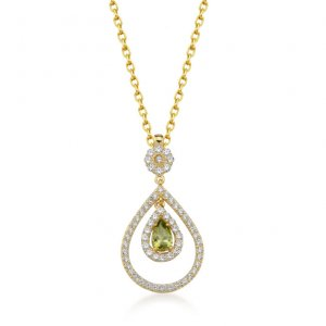 14K Solid Gold Modern Design Classic Cubic Zirconia Necklace