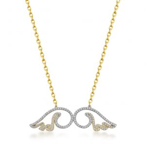14K Solid Gold Modern Design Wing Cubic Zirconia Necklace