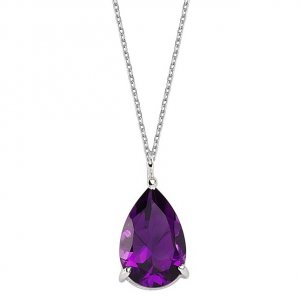 14K Solid Gold Modern Design Amethyst Necklace