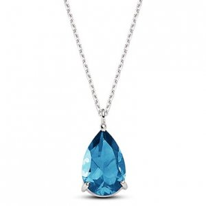 14K Solid Gold Blue Topaz Necklace