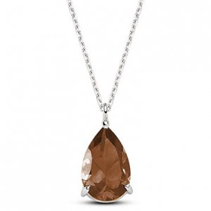 14K Solid Gold Smoky Quartz Necklace