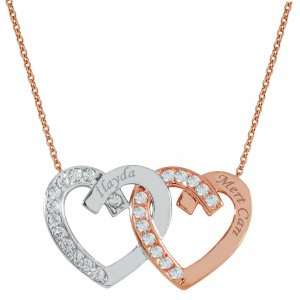 8K Solid Gold Name Heart Cubic Zirconia Necklace