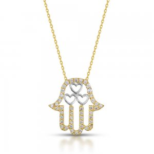 14K Solid Gold Modern Design Heart Hamsa Palm Cubic Zirconia Necklace