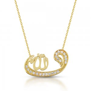 14K Solid Gold Modern Design Arabic Allah Writen Vav Cubic Zirconia Necklace