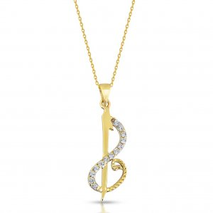 14K Solid Gold Modern Design Vav Cubic Zirconia Necklace