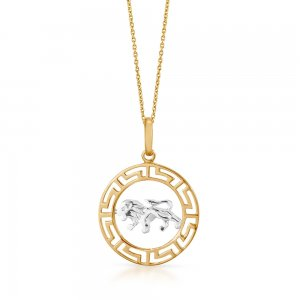 14K Solid Gold Modern Design Leo Lion Necklace