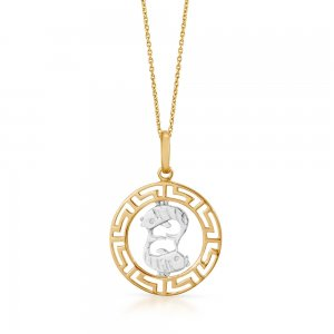 14K Solid Gold Modern Design Fish Pisces Necklace