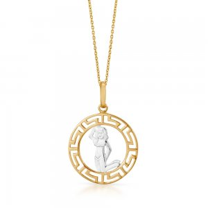 14K Solid Gold Modern Design Virgo Necklace
