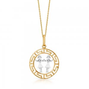 14K Solid Gold Modern Design Gemini Necklace