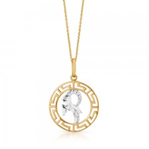 14K Solid Gold Modern Design Capricorn Necklace