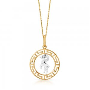 14K Solid Gold Modern Design Aries Necklace
