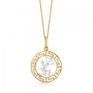 14K Solid Gold Modern Design Sagittarius Necklace