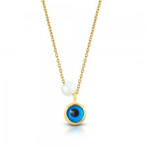 14K Solid Gold Modern Design Evil Eye Pearl Necklace