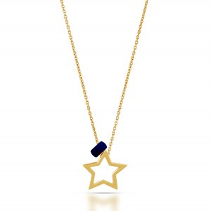 14K Solid Gold Modern Design Star Necklace