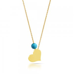 14K Solid Gold Modern Design Heart Turquoise Necklace