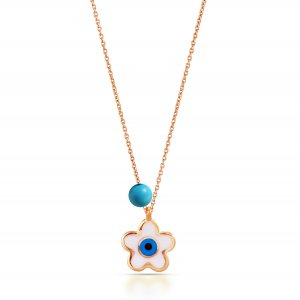 14K Solid Gold Modern Design Clover Turquoise Necklace
