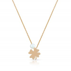 14K Solid Gold Modern Design Clover Pearl Necklace