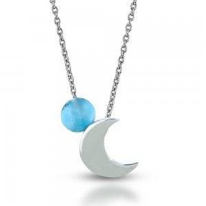 14K Solid Gold Moon Turquoise Necklace