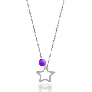 14K Solid Gold Star Amethyst Necklace