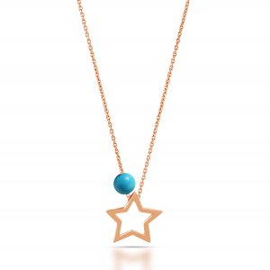 14K Solid Gold Star Turquoise Necklace