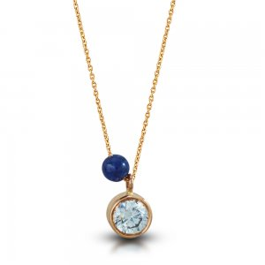 14K Solid Gold Solitaire Like Cubic Zirconia Necklace