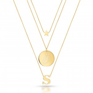 14K Solid Gold Initial Double Letter Locket Star Necklace