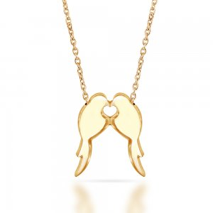 14K Solid Gold Modern Design Bird Dove Necklace