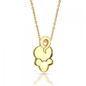 14K Solid Gold Modern Design Mice Necklace