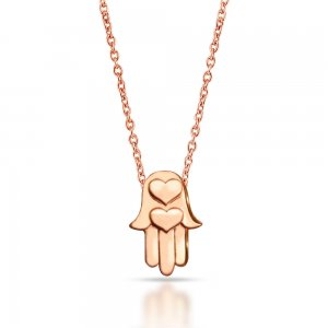 14K Solid Gold Modern Design Heart Hamsa Palm Necklace