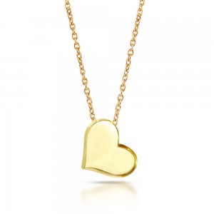 14K Solid Gold Modern Design Heart Necklace