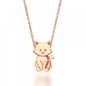 14K Solid Gold Modern Design Cat Necklace