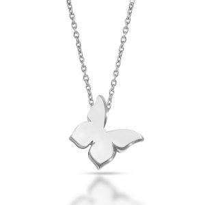 14K Solid Gold Modern Design Butterfly Necklace
