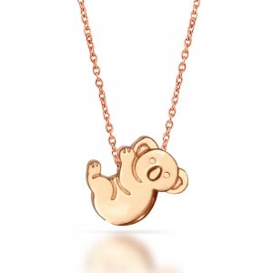 14K Solid Gold Modern Design Koala Necklace