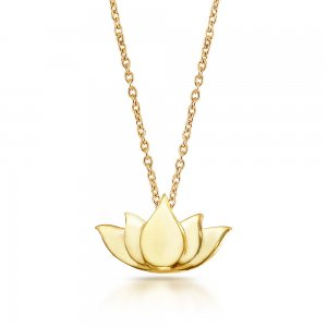 14K Solid Gold Modern Design Flower Lotus Necklace
