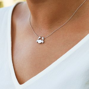14K Solid Gold Modern Design Cancer Crab Necklace