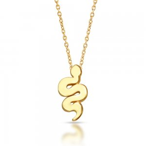 14K Solid Gold Modern Design Snake Necklace