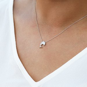 14K Solid Gold Modern Design Dolphin Necklace