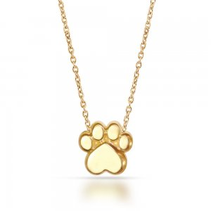 14K Solid Gold Modern Design Paw Necklace