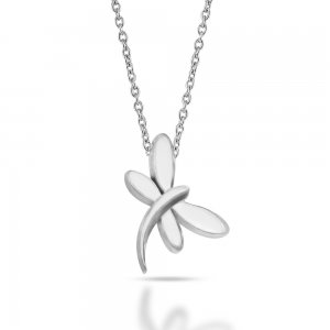 14K Solid Gold Modern Design Dragonfly Necklace