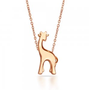 14K Solid Gold Modern Design Giraffe Necklace