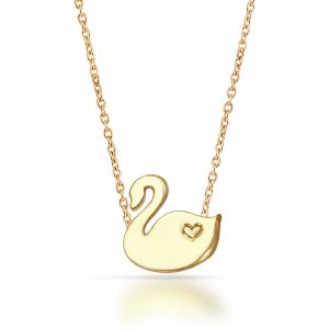 14K Solid Gold Modern Design Heart Swan Necklace