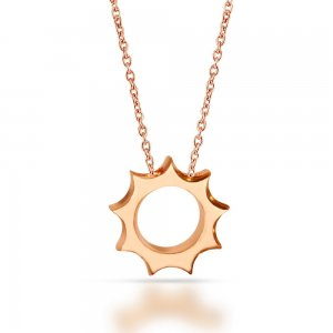 14K Solid Gold Modern Design Sun Necklace