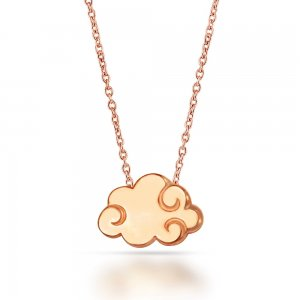14K Solid Gold Modern Design Clouds Necklace