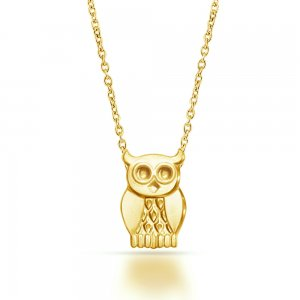 14K Solid Gold Modern Design Bird Owl Necklace