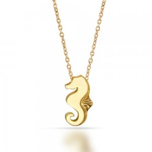 14K Solid Gold Modern Design Sea Horse Necklace
