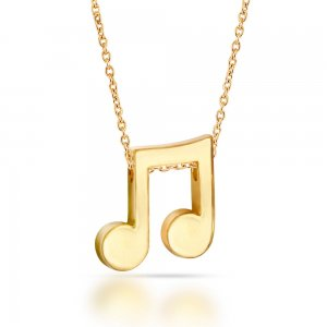14K Solid Gold Modern Design Note Necklace