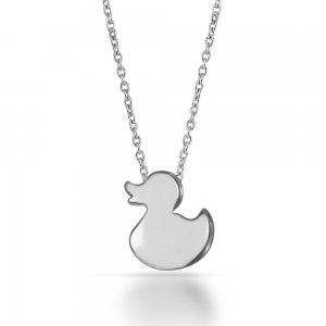 14K Solid Gold Modern Design Duck Necklace