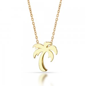 14K Solid Gold Modern Design Palm Necklace