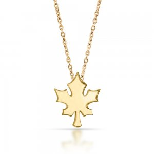 14K Solid Gold Modern Design Leaf Sycamore Necklace