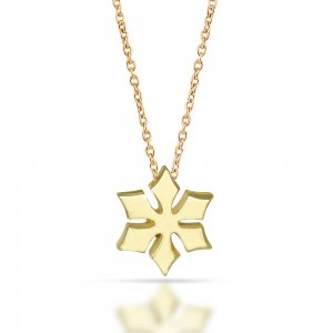 14K Solid Gold Modern Design Snow Flake Necklace